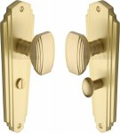 Heritage Brass CHA1930-SB Mortice Knob on Bathroom Plate Charlston Design Satin Brass finish