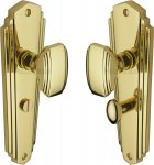 Heritage Brass CHA1930-PB Mortice Knob on Bathroom Plate Charlston Design Polished Brass finish