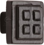 M.Marcus FB3622 Black Iron Rustic Cabinet Knob Square Craft Design 32mm