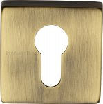 Heritage Brass SQ5004-AT Euro Profile Cylinder Escutcheon Antique finish