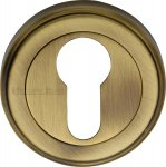 Heritage Brass V5020-AT Euro Profile Cylinder Escutcheon Antique finish