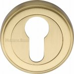 Heritage Brass V5020-SB Euro Profile Cylinder Escutcheon Satin Brass finish