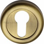 Heritage Brass V6724-AT Euro Profile Cylinder Escutcheon Antique Finish