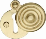 Heritage Brass V972-SB Covered Keyhole Reeded Satin Brass finish