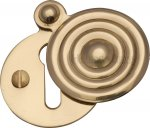 Heritage Brass V972-PB Covered Keyhole Reeded Polished Brass finish