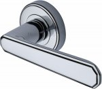 Heritage Brass CEN1924-PC Door Handle Lever Latch on Round Rose Century Design Polished Chrome finish