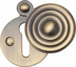 Heritage Brass V972-AT Covered Keyhole Reeded Antique finish