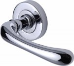Sorrento SC-6352-PC Door Handle Lever Latch on Round Rose Donna Design Polished Chrome finish