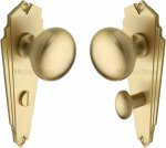 Heritage Brass BR1830-SB Mortice Knob on Bathroom Plate Broadway Design Satin Brass finish