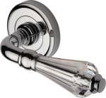 Heritage Brass V2003-PC Door Handle Lever Latch on Round Rose Crystal Design Polished Chrome finish