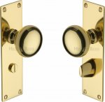 Heritage Brass BAL8530-PB Mortice Knob on Bathroom Plate Balmoral Design Polished Brass finish