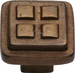 M.Marcus RBL3622 Solid Bronze Cabinet Knob Square Craft Design 32mm