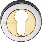 Heritage Brass V4020-CB Euro Profile Cylinder Escutcheon Chrome & Brass finish