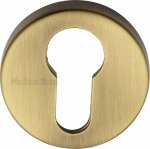 Heritage Brass V4008-AT Euro Profile Cylinder Escutcheon Antique finish