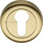 Heritage Brass V6724-SB Euro Profile Cylinder Escutcheon Satin Brass Finish