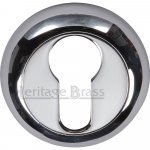 Heritage Brass V4004-PC Euro Profile Cylinder Escutcheon Polished Chrome Finish