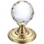 Fulton & Bray FB301 Glass Ball Mortice Knob - Facetted 55mm Polished Brass