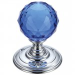 Fulton & Bray FB301CPB Glass Ball Mortice Knob - Facetted Blue 55mm Polished Chrome