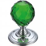 Fulton & Bray FB301CPG Glass Ball Mortice Knob - Facetted Green 55mm Polished Chrome