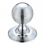 Fulton & Bray FB306CP Ringed Mortice Knob on Round Rose - Concealed Fix - Solid Polished Chrome