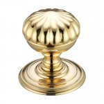Fulton & Bray FB307 Flower Mortice Knob on Round Rose - Concealed Fix Polished Brass