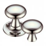 Fulton & Bray FB501RPVDN Mushroom Rim Mortice Knob Furniture 60mm Rose dia. Polished Nickel (PVD)