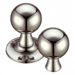 Fulton & Bray FB502RPVDN Ball Rim Mortice Knob Furniture 60mm Rose dia. Polished Nickel (PVD)