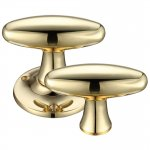 Fulton & Bray FB503R Extended Oval Rim Mortice Knob Furniture 60mm Rose dia. Polished Brass