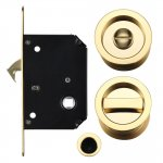 Fulton & Bray FB81 Sliding Door Lock Set - Suitable for 35-45mm Thick Doors Polished Brass