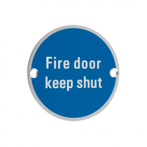 Zoo Hardware ZSA09SA Signage - Fire Door Keep Shut Satin Aluminium