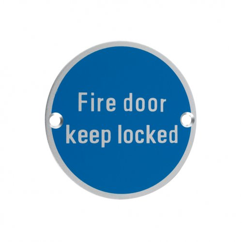 Zoo Hardware ZSA10SA Signage - Fire Door Keep Locked Satin Aluminium