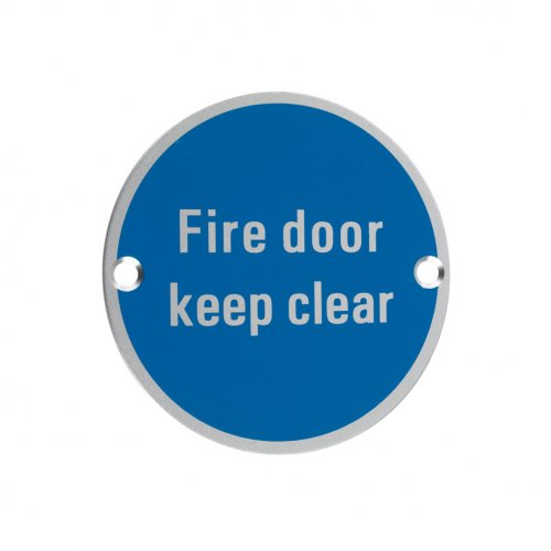 Zoo Hardware ZSA11SA Signage - Fire Door Keep Clear Satin Aluminium