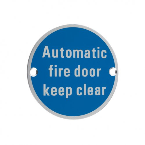 Zoo Hardware ZSA12SA Signage - Automatic Fire Door Keep Clear Satin Aluminium